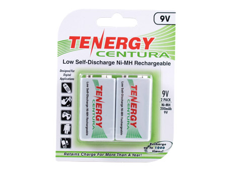Tenergy Centura LSD 10002 9V 200mAh 8.4V Nickel Metal Hydride (NiMH) Battery with Snap Connector - 2 Piece Retail Card