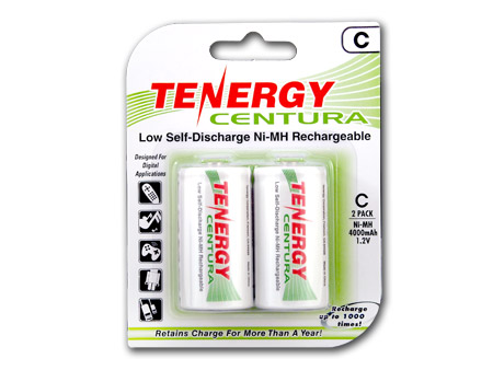 Tenergy Centura LSD 10207 C-cell 4000mAh 1.2V Nickel Metal Hydride (NiMH) Button Top Batteries - 2 Piece Retail Card