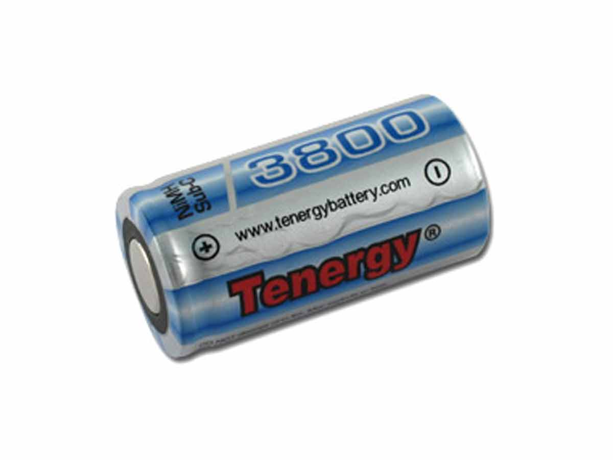 Tenergy 10518-1 Sub C 3800mAh 1.2V Nickel Metal Hydride (NiMH) Flat Top Batteries with or without Tabs - Bulk