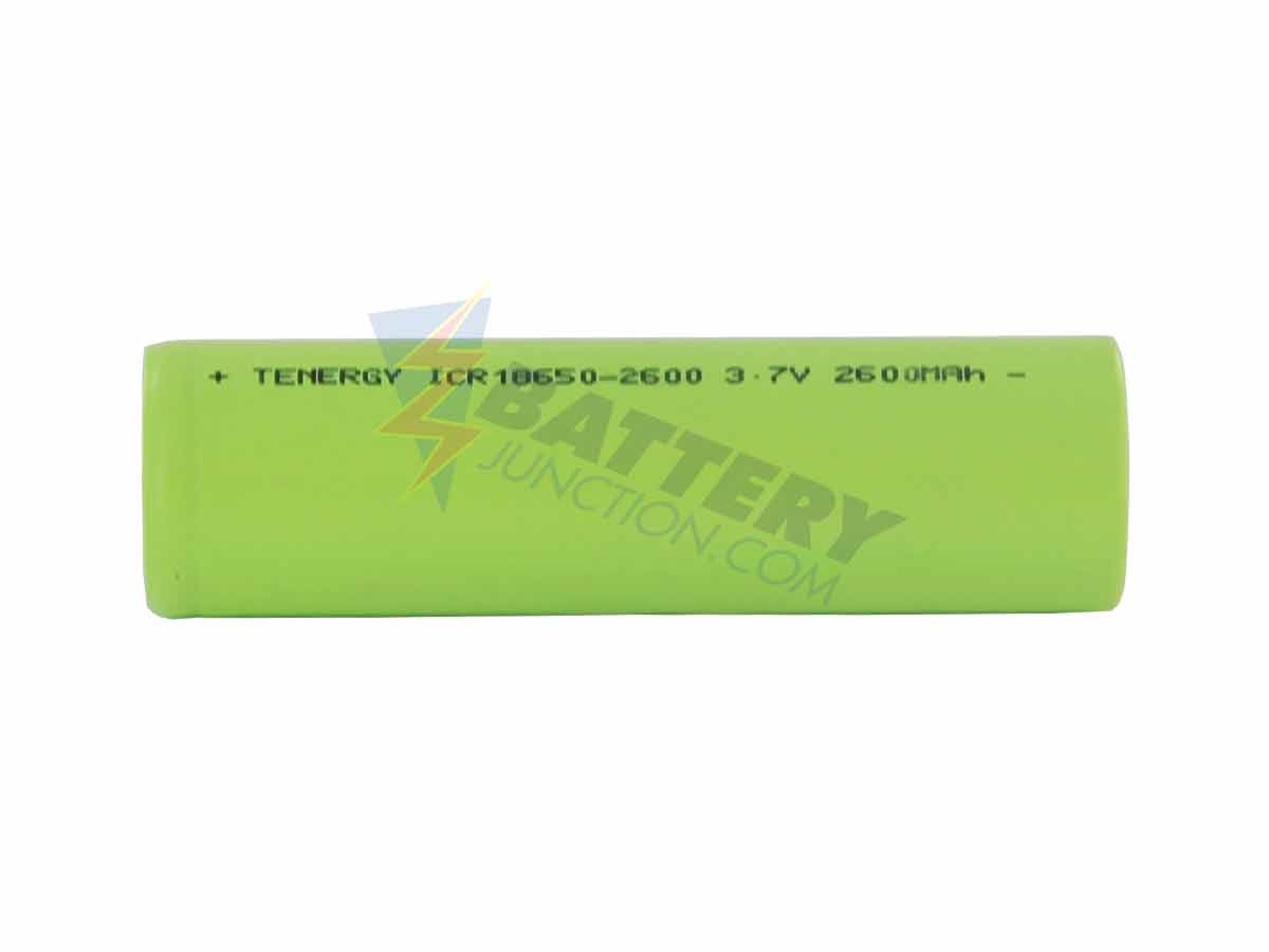 Tenergy 30005 ICR 18650 2600mAh 3.7V Lithium Ion (Li-Ion) Unprotected Rechargeable Battery for Pack-Building (TABS OPTIONAL)