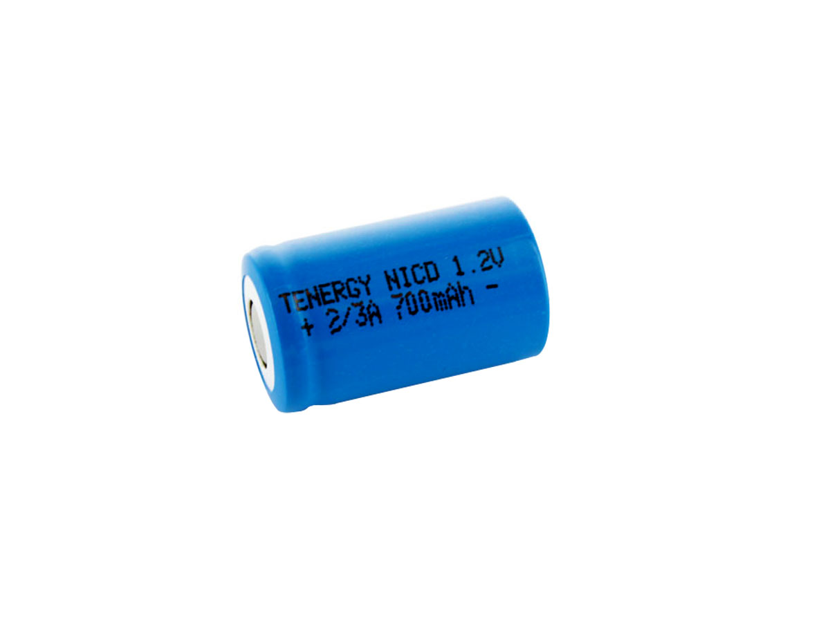 Tenergy 2/3 A battery with flat top terminal