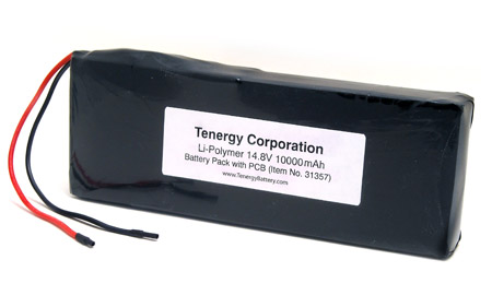 Tenergy 14.8V 10000mAh LiPo PCB Protected Rechargeable Battery Pack with Bare Leads (31357)