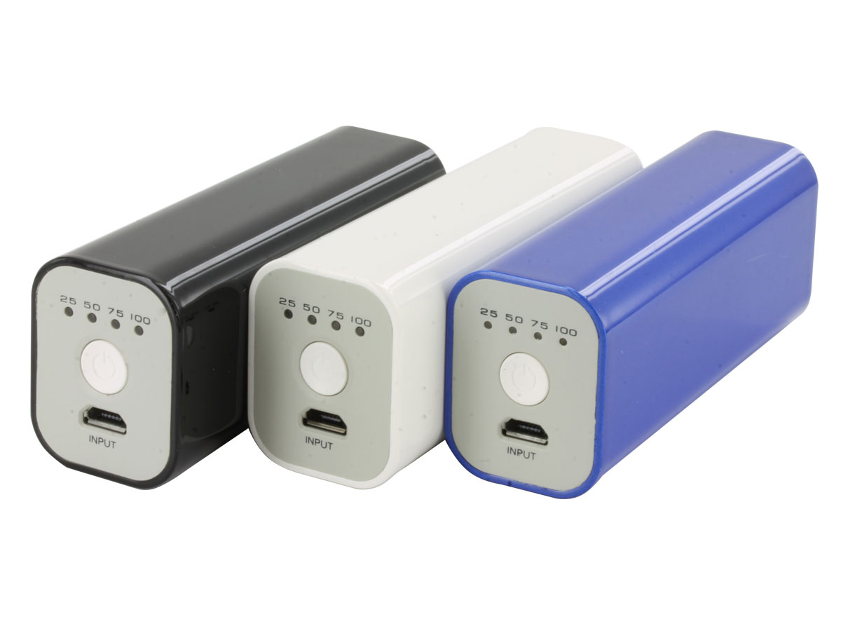 Tenergy 5V 2600mAh Mini Power Bank Charger with USB Cable - Blue, Black or White