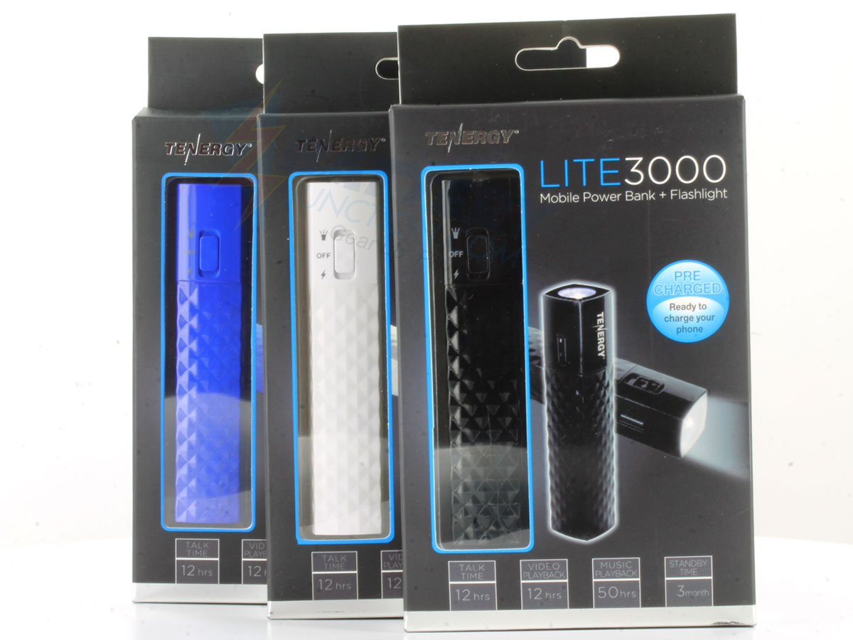 Tenergy Lite3000 5V 3000mAh Mobile Power Bank Charger with LED Flashlight, USB Cable - Black, White or Blue