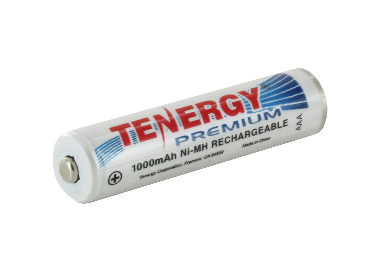 Tenergy Premium 10405 AAA 1000mAh 1.2V Nickel Metal Hydride (NiMH) Button Top Battery - Bulk