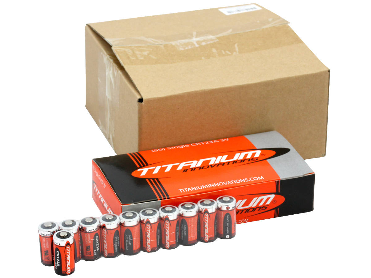 Titanium Innovations CR123A (200PK) 1400mAh 3V 3A Lithium Primary (LiMNO2) Button Top Photo Batteries - Box of 200