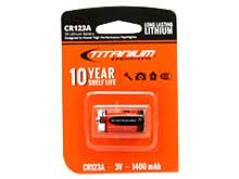 Titanium Innovations CR123A-1 1400mAh 3V 3A Lithium Primary (LiMNO2) Button Top Photo Battery - 1 Piece Retail Card
