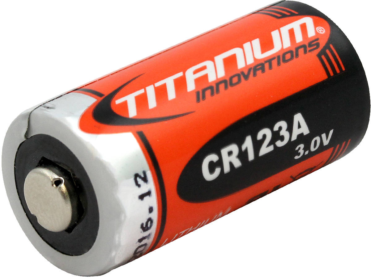 Titanium Innovations CR123A 1400mAh 3V 3A Lithium Primary (LiMNO2) Button Top Photo Battery - 1 Piece Retail Card