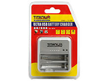 Titanium Innovations CH-TP USB-Powered 2-Bay Rapid Battery Charger - NiMH, NiCd AA and AAAs - AC 100-240V + USB Adapters