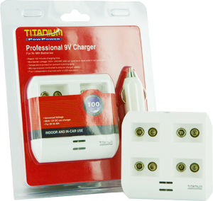 Titanium Innovations TTP9V 4-Bay Smart Battery Charger - NiMH 9Vs - AC 100-240V + DC Adapters
