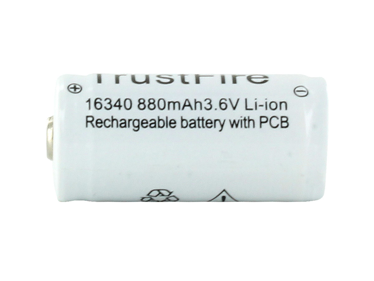 TrustFire RCR123A / 16340 880mAh 3.6V Protected Lithium Ion (Li-ion) Button Top Battery - Bulk