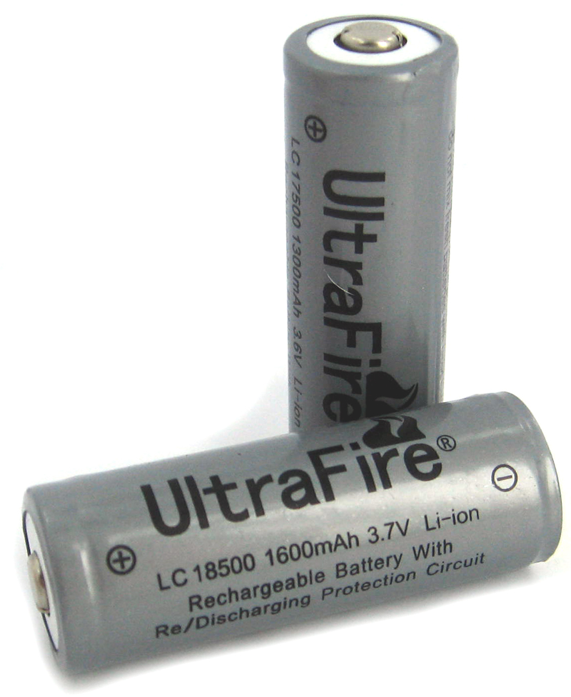 UltraFire LC 18500 1600mAh 3.7V Protected Lithium Ion (Li-ion) Button Top Battery - Bulk