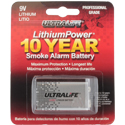 UltraLife U9VL-X 9V 1200mAh 10-Year Smoke Alarm Lithium (LiMnO2) Battery - Snap Connectors - 1 Piece Retail Card