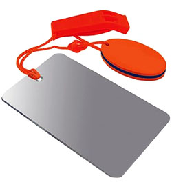 Ultimate Survival Technologies Find-Me Signal Mirror / Hear-Me Floating Whistle Combo - Signal Device with Breakaway Lanyard - Orange (20-019-143)