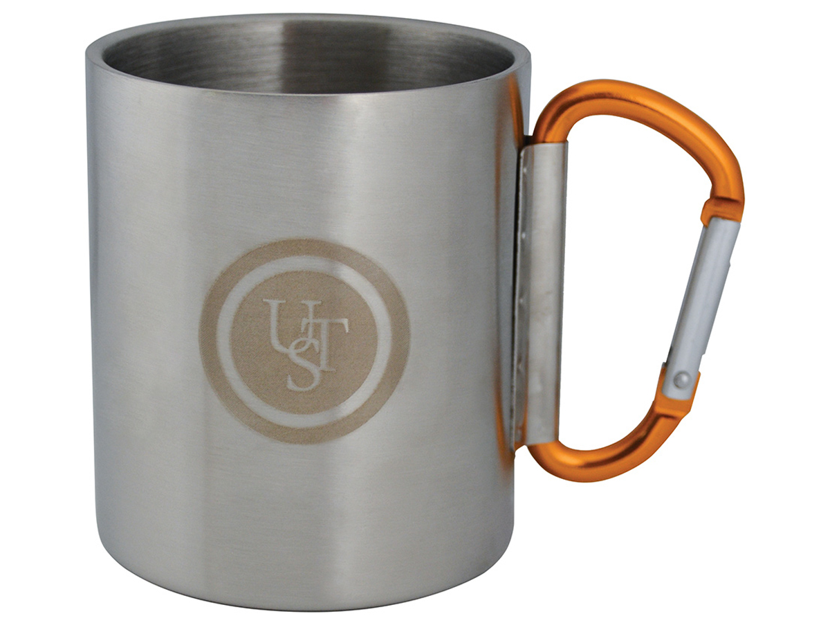 Ultimate Survival Technologies KLIPP Biner Mug 1.0 - Stainless Steel - 3.5 x 4.75-inch Camping Cup with 8cm Carabiner Handle (20-02059-02)