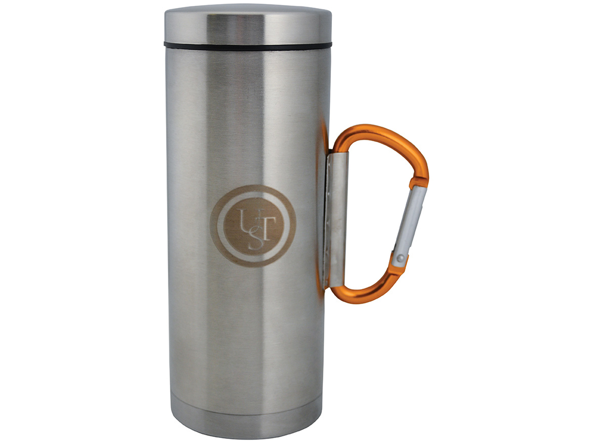 Ultimate Survival Technologies KLIPP Biner Mug 2.0 - Stainless Steel - 6.7 x 4.25-inch Lidded Camping Cup with 8cm Carabiner Handle (20-02061-02)