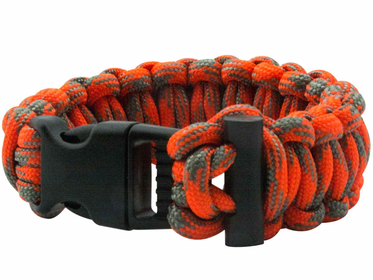 Ultimate Survival Technologies ParaTinder Bracelet - 550 Paracord with Flint Fire Starter - Orange and Gray (20-02991)