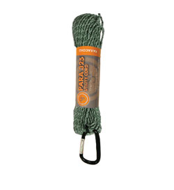 Ultimate Survival Technologies Paracord 325 Heavy Duty Cord Hank with Carabiner - 50 Feet - Green Camo (20-3X50-08)