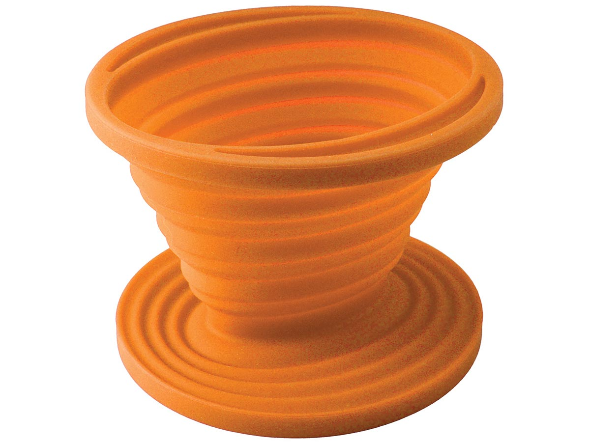 Ultimate Survival Technologies FlexWare Coffee Drip - Heat-Resistant Silicone - 3.25 x 4.5-inch Collapsible #2 Cone Filter Holder - Orange (20-CKT0019-08)