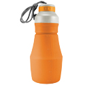 Ultimate Survival Technologies FlexWare Water Bottle - Silicone - 18 fl. oz. Collapsible Canteen with Lanyard - Orange (20-CKT0026-08)