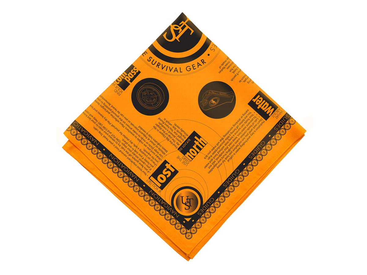 Ultimate Survival Technologies Survival Bandana with Survival Tips - 22 x 22-inch - High-Visibility Orange (20-PGR0001-08)