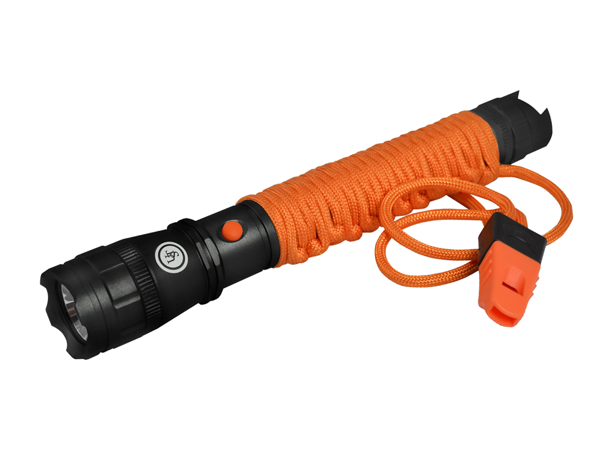 Ultimate Survival Technologies Para Survival LED Flashlight with Paracord Grip and Whistle - 320 Lumens - Includes 2 x AAs - Black and Orange (20-SVL0004-08)