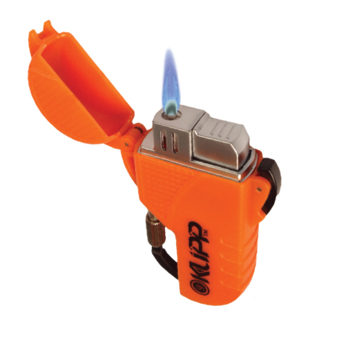 Ultimate Survival Technologies KLIPP Butane Lighter / Fire Starter with Carabiner Clip - Black or Orange