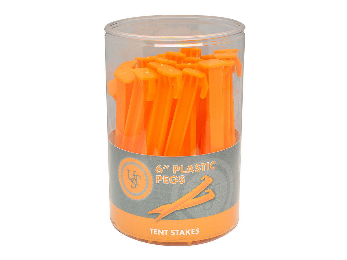 Ultimate Survival Technologies Plastic Peg Tent Stakes - 6-inch Stakes for Outdoor Shelters - 36-Count Sellinder - Glo or Orange