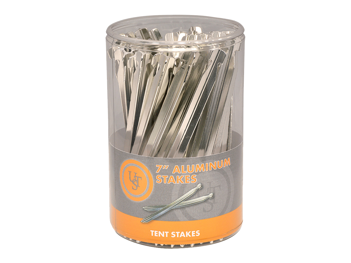 Ultimate Survival Technologies Aluminum Tent Stakes - 7-inch Stakes for Outdoor Shelters - 48-Count Sellinder (20-02093SD)