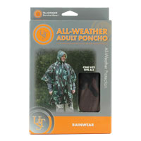 Ultimate Survival Technologies All-Weather Adult Poncho - 40 x 50-inch Rainwear with Drawstring Hood - Camo or Grey