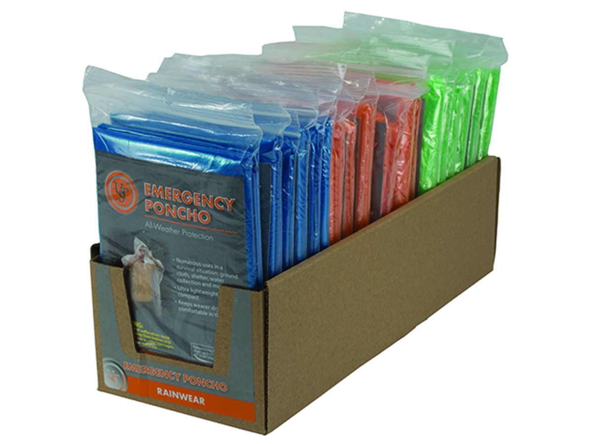 Ultimate Survival Technologies Emergency Poncho Point-of-Sale Display Box (PDQ) - 40 x 50-inch Rainwear - Clear (20-310-CP) or Assorted Colors (20-12159)