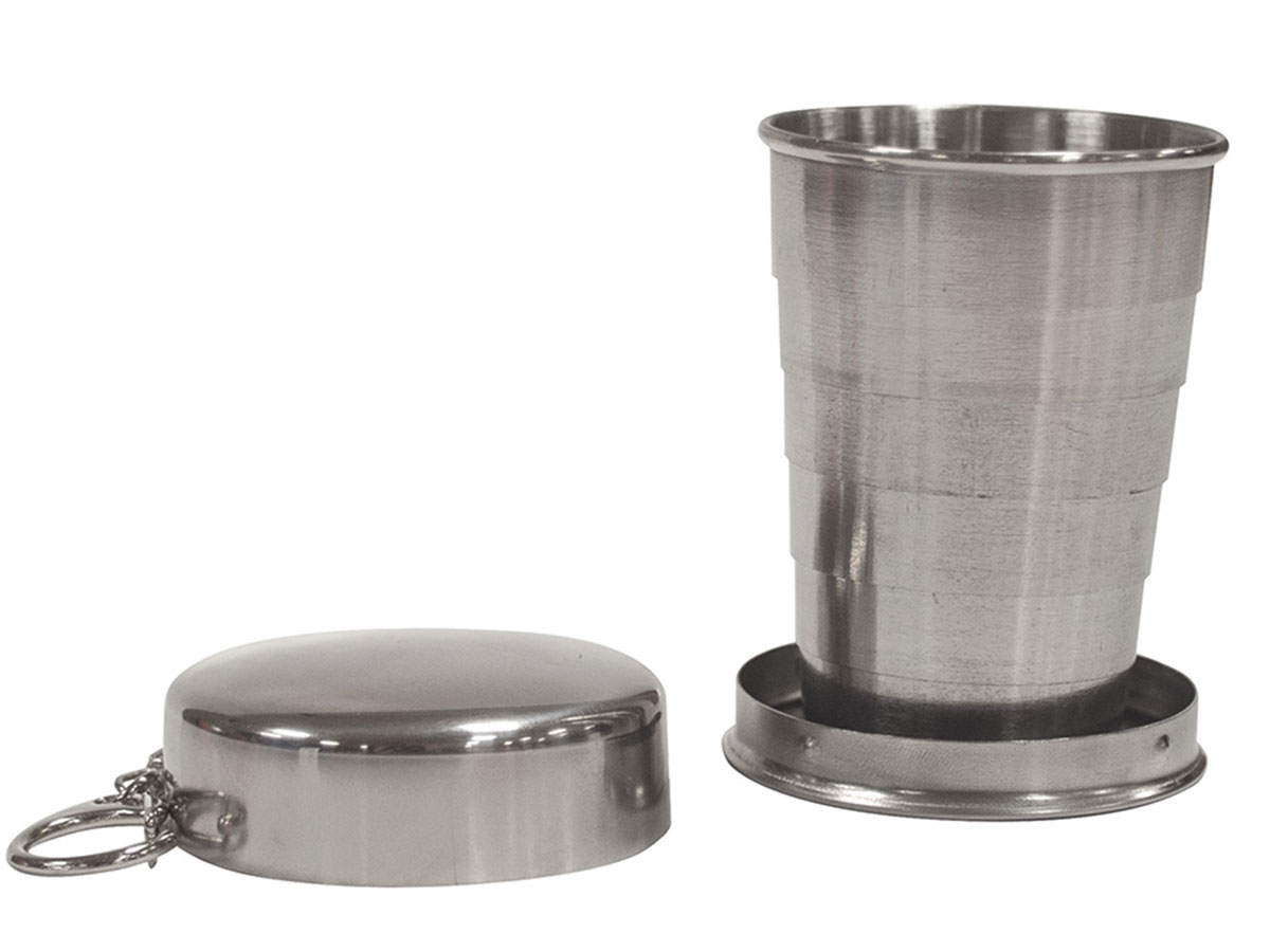 Ultimate Survival Technologies Heritage Packable Cup - Stainless Steel Collapsible Camping Cup with Clip (20-12151)