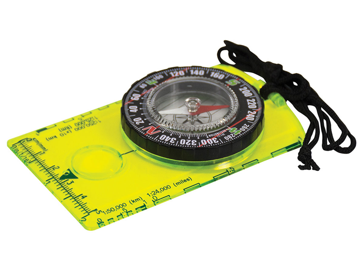 Ultimate Survival Technologies Hi Vis Deluxe Map Compass with Extended Base Plate, Measuring Scale and Breakaway Lanyard (20-12131)