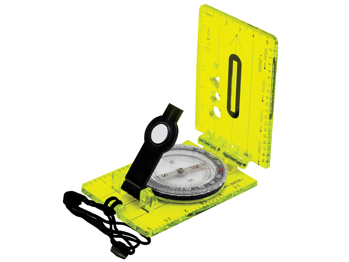 Ultimate Survival Technologies Hi Vis Lensatic Map Folding Compass with Adjustable Lens, Extended Base Plate and Breakaway Lanyard (20-12134)
