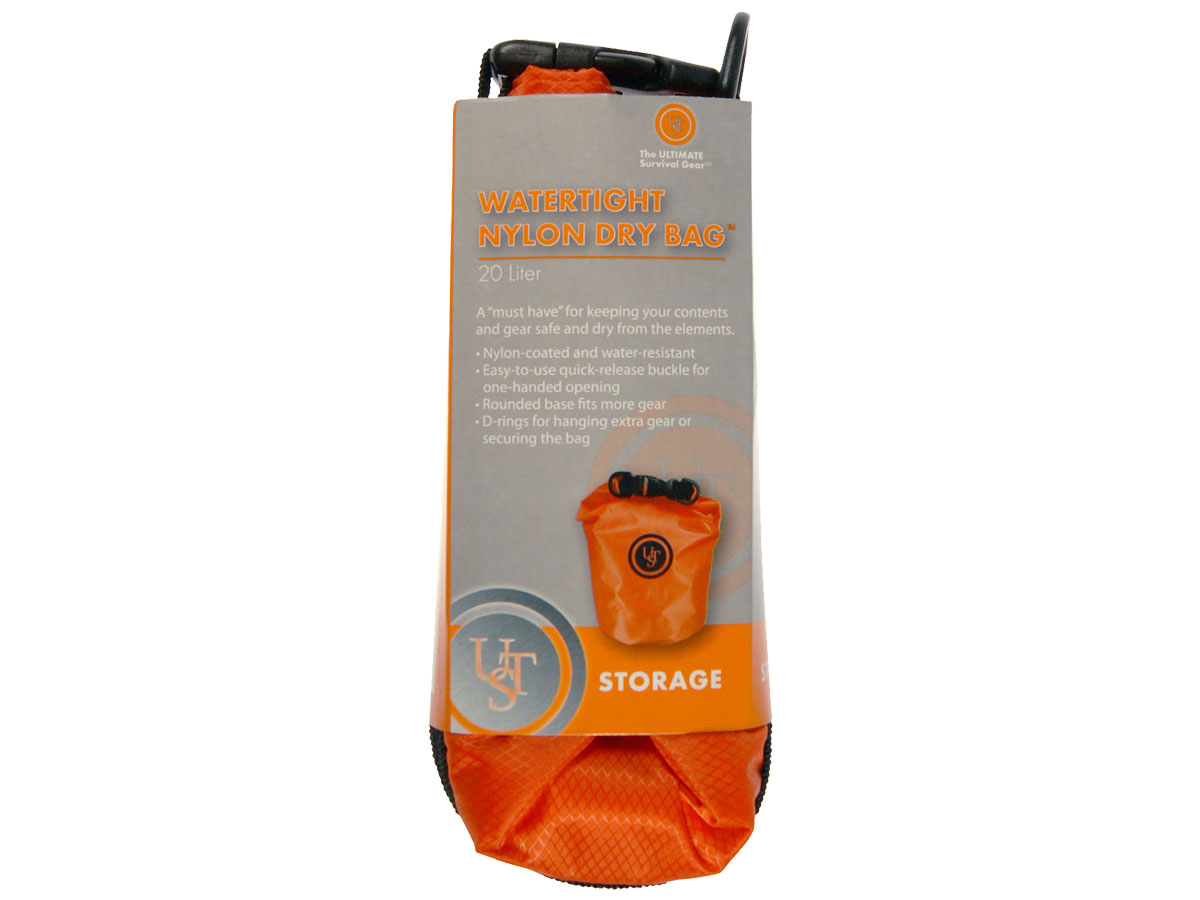 Ultimate Survival Technologies Lightweight Dry Bag - 5- or 20-Liter Watertight Nylon Storage Pack - Orange