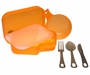 Ultimate Survival Technologies PackWare Mess Kit - Includes Cup, Cutting Board / Strainer, Eating Utensils and Storage Container / Bowls - Orange (20-02734)