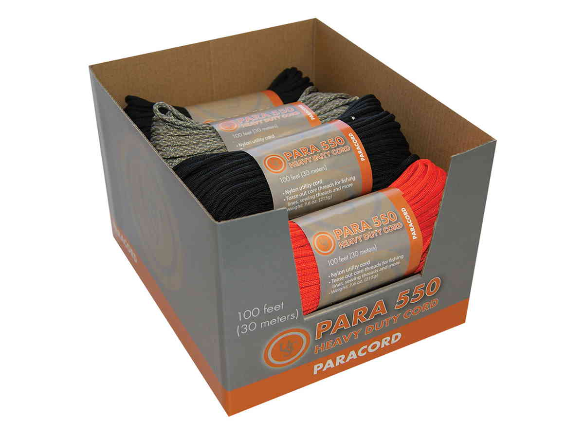 Ultimate Survival Technologies Para 550 Heavy Duty Cord Point-of-Sale Display Box (PDQ) - 100 Foot  -  Includes 9 Hanks of 550 Paracord - Assorted Colors (20-5X100-A9)