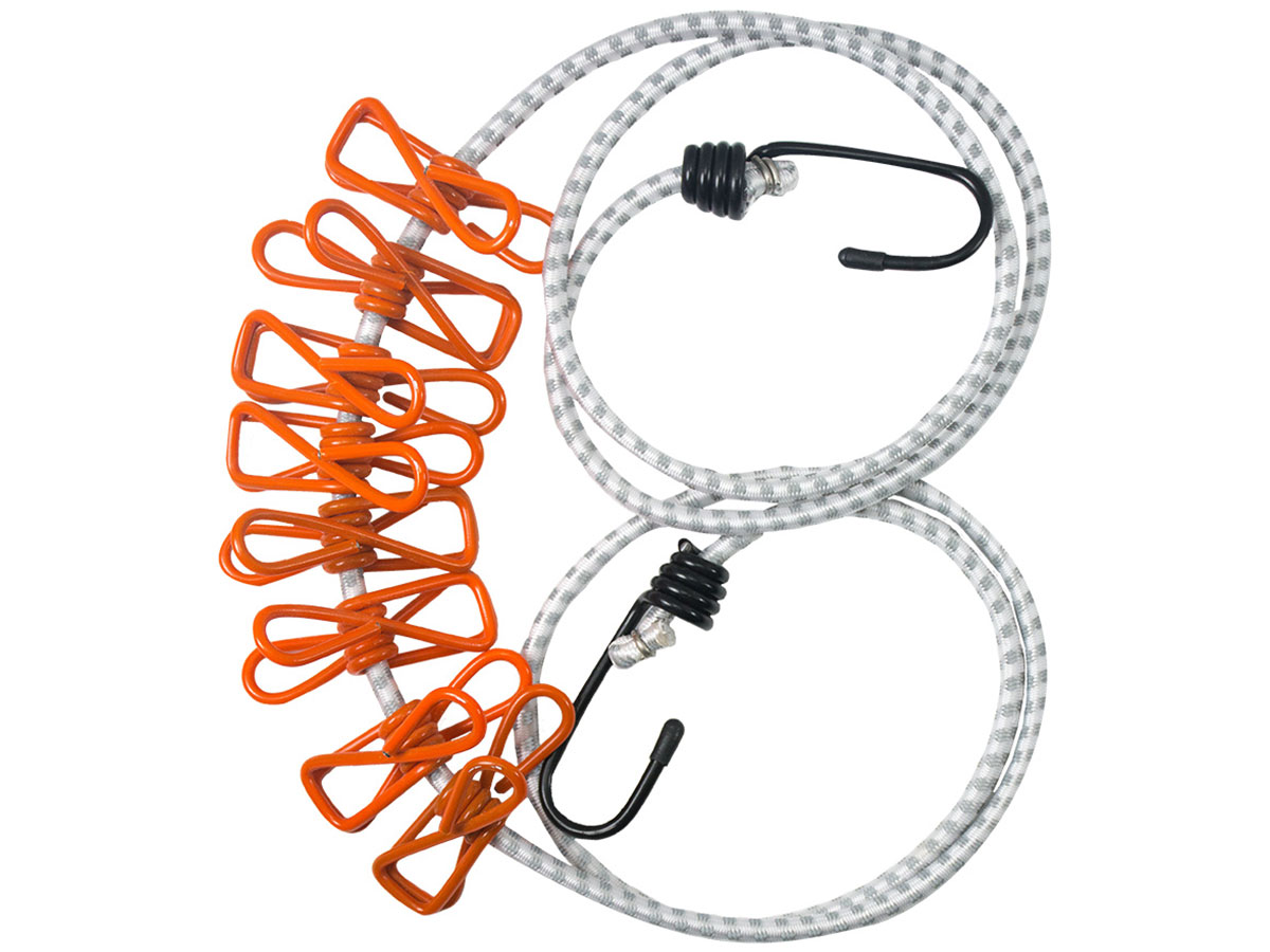 Ultimate Survival Technologies Reflective Clothesline - 59-inch Elastic Cord with 8 x Plastic-Coated Steel Clips (20-02719)