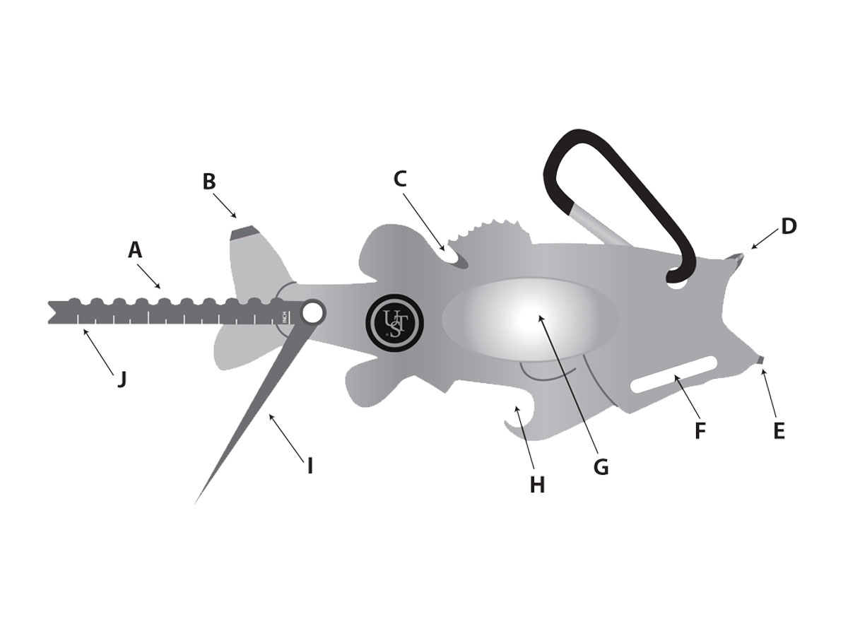 Ultimate Survival Technologies Tool A Long Bass Multi-Tool - Stainless Steel - 10 Total Tools - TSA Compliant (20-12127)