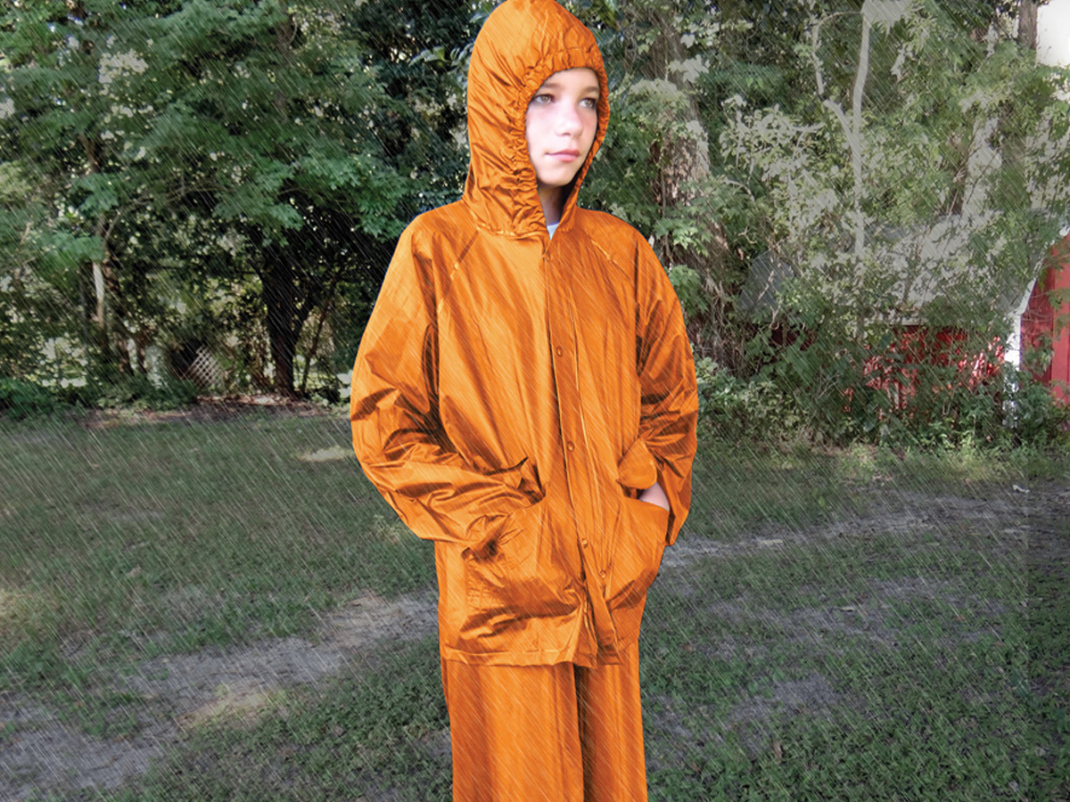 Ultimate Survival Technologies All-Weather Rain Suit - Waterproof Jacket and Pants - Youth S/M or L/XL - Orange