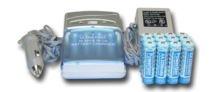 Vanson CH-V1000 Ultra Fast Smart Charger + 4 AA 2600 mAh NiMH Batteries