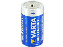 Angle Shot of the Varta High Energy C Alkaline Battery