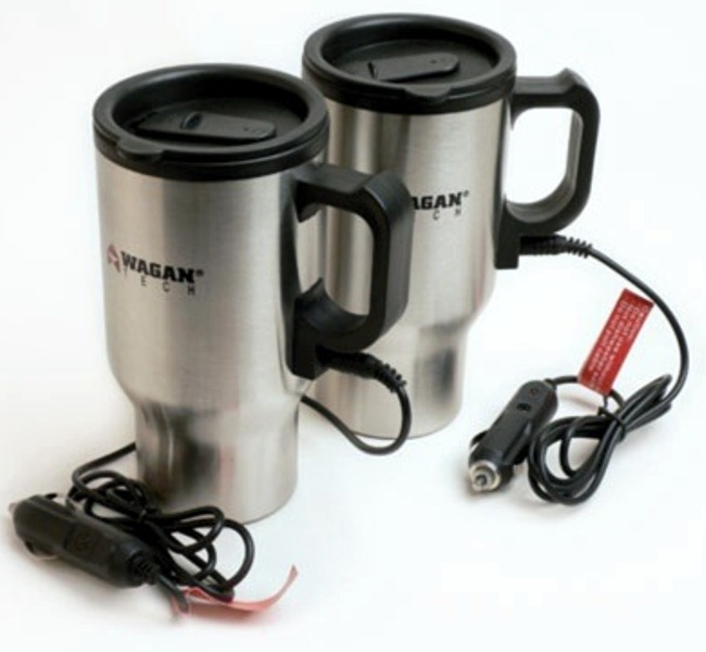 Wagan 2227-1 12V Ceramic Heated Travel Mugs - Pair - (Silver) in Color Box