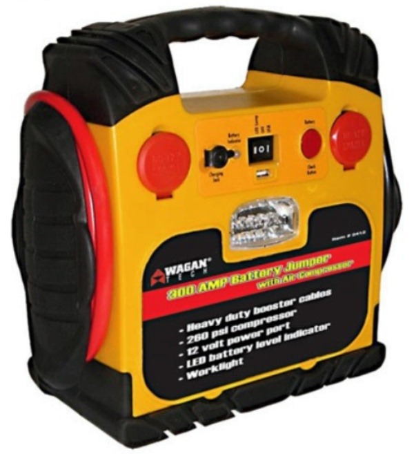 Wagan Tech 2467 Battery Jumper - 300 Amp Jump Starter with Air Compressor - 12Ah SLA Battery