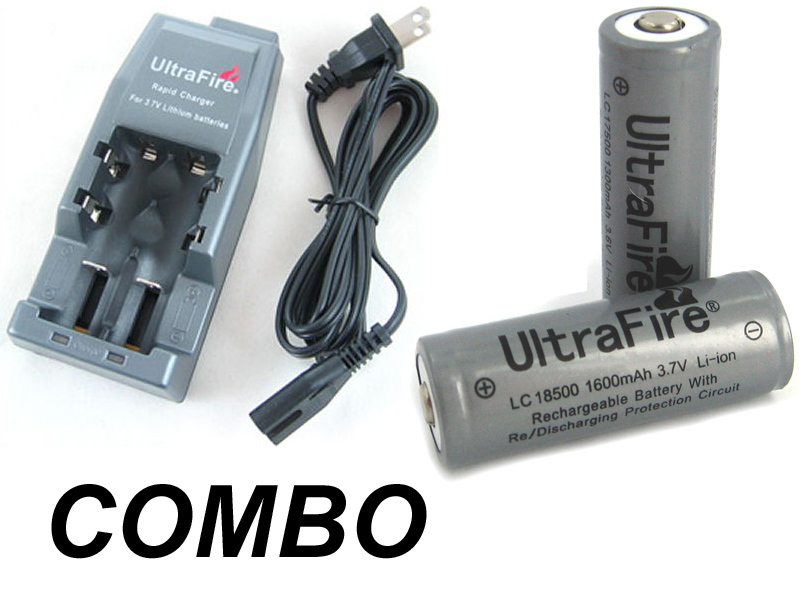 COMBO: Ultrafire WF-139 Lithium Ion Charger / 2 Ultrafire 18500 1600mah 3.7v Batteries
