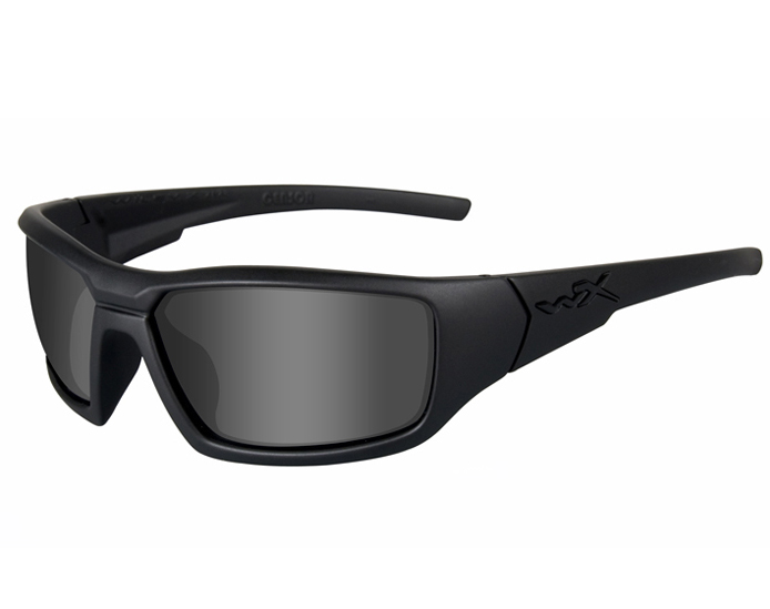 Wiley X WX Censor Street Sunglasses Rx Ready with High Velocity Protection - Black Ops Matte Black Frame with Smoke Grey Lenses (SSCEN01)