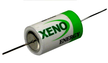 Xeno XL-050F-AX 1/2AA 1200mAh 3.6V 1.2A Lithium Thionyl Chloride (LiSOCI2) Battery with Axial Leads - Bulk