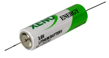 Xeno XL-060F-AX AA 2400mAh 3.6V Lithium Thionyl Chloride (LiSOCI2) Battery with Axial Leads - Bulk