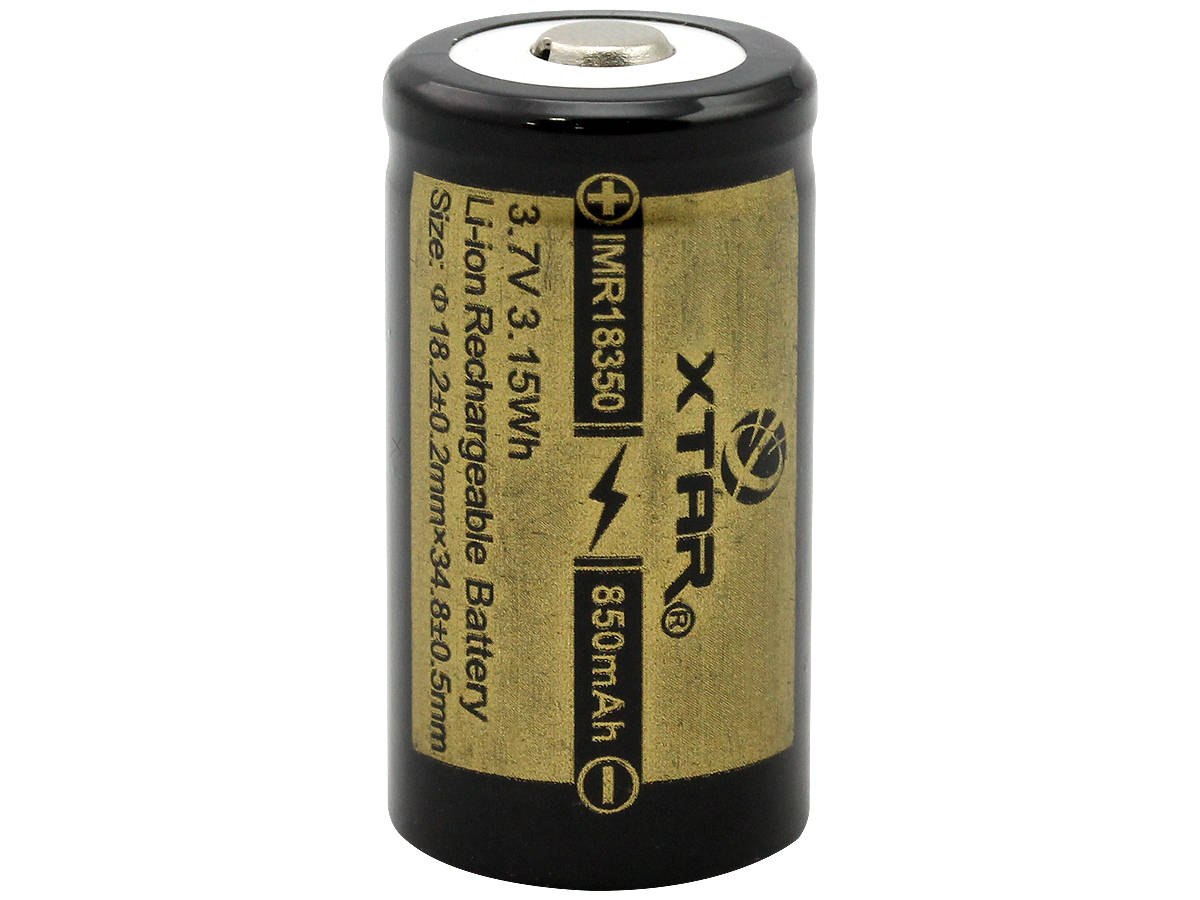 Xtar IMR 18350 850mAh 3.7V Protected High-Drain 4.25A Lithium Manganese (LiMn2O4) Button Top Battery - Boxed