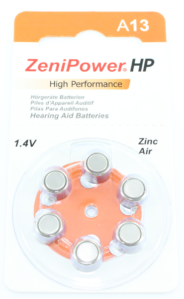 ZeniPower HP 13 (A13) Hearing Aid Zinc Air Battery - 6-Pack